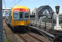 V33 at Milsons Point. (Free Rail Photography.) Tags: bridge station electric train point state harbour sydney rail railway australia double deck lampost wires nsw passenger interurban overhead intercity milsons sra cityrail trainlink vset
