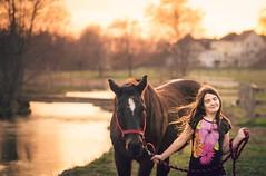 horse happiness (Jen MacNeill) Tags: sunset horse girl creek happy golden stream child sundown happiness magichour goldenhour quarterhorse littledoglaughedstories