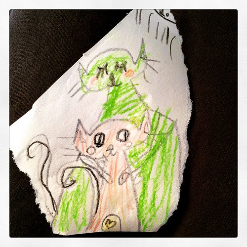 136/365 • Zoe drew this for me this morning - I'm the green cat, she is the orange • #136_2015 #7yo #drawing #cats #art #miaow #love
