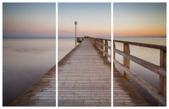 Falkenberg Pier Triptych (Mabry Campbell) Tags: longexposure sunset sea seascape water coast pier photo triptych image fav50 sweden perspective fav20 coastal fav30 resund waterscape 2014 halland falkenberg fav10 fav40 fav60 fav90 fav80 fav70 mabrycampbell