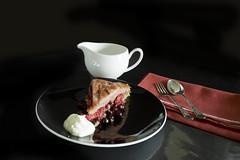 Summer Pudding (Wendy:) Tags: summerpudding food lowkey tiltshift odc raspberries blackcurrants dessert silver spoon red taste seasonal