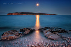 Thunder Moon over Bonnaventure Island (LionArt1970) Tags: rocher percesaguine thundermoon lunedutonnerre perce quebec water bonnaventureisland canon canon7dmarkii canada moon night nightsky