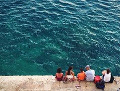 PEOPLE WATCHING (natascha_huls) Tags: simplicity simple minimalism iphone phone seascape cityscape urban city landscape scenery colorful colors color travelling travel european europe malta island shore coast beach group friends love relaxation relax family happiness happy sunshine sunny sun water ocean sea portrait people nature summer