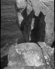 rock forms, rhythmic shadows, Pulpit Rock, Monhegan, Maine, Kodak Duex 620 film camera, Fomapan 200, Ilford Ilfosol 3 Developer, 7.14.16 (steve aimone) Tags: rocks rocky verticality shadows rhythmicmovements rhythm pulpit rock monhegan monheganisland maine monochrome mediumformat 120 film 620camera kodak fomapan200 ilfordilfosol3developer landscape atlanticocean