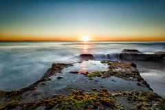 Rock Pull Winter Sunset (invision imagery) Tags: ocean sun nature waves australia perth westernaustralia goldenhour longeexposure