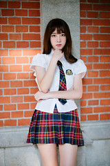 (I C E I N N) Tags: red summer portrait white black girl shirt asian 50mm uniform moody dof photoshoot outdoor sony bricks taiwan tie skirt highschool teen brickwall taipei patch  schoolgirl speedmaster jk tartan ntnu pleated  f095  zhongyi   mitakon groupshoot a72   icle7m2 sonya7ii