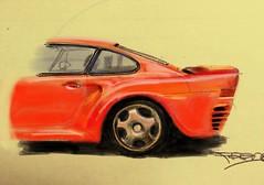 Porsche 959 car art on post-it note (lowlova) Tags: porsche 959 carart painterapp android guardred classic car old school