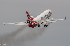 Martinair Cargo MD-11, Luchtmachtdagen, Leeuwarden 2016 (harrison-green) Tags: luchtmachtdagen leeuwarden ab netherlands aircraft air show airshow holland dutch viper role demo aviation jet combat canon eos 700d sigma 150500mm vehicle airplane mig29 mig 29 slovak slovakian russian outdoor martinair cargo md11 mcdonald douglas dc10 airliner