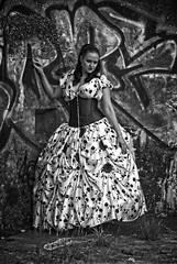 Elizabeth Miller (Clandrew) Tags: clandrew vintage elizabethmiller fashion portland dorset portlandbill girl model red dress bw blackandwhite blancetnoir grafitti wall