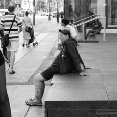 Better days ? (PJMixer) Tags: 52weekproject bw fuji summer toronto candid people street uptown