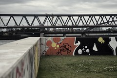 colours on concrete (liebeslakritze) Tags: graffiti steel concrete bridge colours bunt beton gras brcke stahl streetart