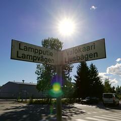 Vlys (neppanen) Tags: sampen discounterintelligence helsinki helsinginkilometritehdas suomi finland piv50 pivno50 reitti50 reittino50 lampputie valokaari aurinko