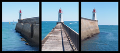 31/52 - Life by the lighthouse - triptych (Jrme Doutaz) Tags: 45mm 52project jdoutaz lessablesdolonnes olympus vende blue boat color ep5 fisher lighthouse ocean swim swimmer triptych mi