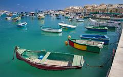 Marsaxlokk (Mathijs Buijs) Tags: harbor boats clear water blue historic old fish fishermans village town marsaxlokk malta southern europe canon eos 7d volendam