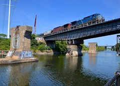 Over a locked swing bridge (Michael Berry Railfan) Tags: cefx1002 cp canadianpacific cp650 ethanoltrain unittrain fueltrain adirondacksub lasalle montreal quebec lachinecanal bridge cp8501 ge generalelectric ac4400cw