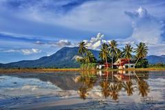 Tanjung Dawai (Ranjith Mehenderkar) Tags: village kampung malaysia sungaipetani tanjungdawai hdr mountains palm coconut reflection house