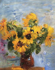 Bouquet of Sunflowers (http://annafineart.net/) Tags: oilpainting expressionism contemporary modernart gallery original floral flowers artwork still life flower artstudio media bouquet pink oilmedia impressionist art arts painter dailypainter artist oil painting paintings fineart finearts textura impasto white daisies daisy blue red expressionist artforsale professional thick paint paints annafineart annafineartstudio bunch yellow sunflower sunflowers