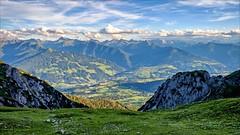 Talblick - Valley view (Heinrich Plum) Tags: heinrichplum plum fuji xe2 xf1855mm mountain mountains berge berg alpen alps sommerabend summerevening dachsteinmassiv ramsau austria sterreich steiermark hiking wandern tal valley wolken clouds mountaineering abendstimmung eveningatmosphere