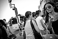 A Normal Day in Bucharest (stimpsonjake) Tags: nikoncoolpixa 185mm streetphotography bucharest romania city candid blackandwhite bw monochrome crowd walking woman sunglasses fashion