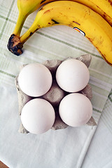 banana egg pancakes - ingredients (hallosunnymama) Tags: food recipe table blog egg banana bananas eggs recipes cloth