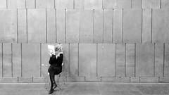 Reading Between The Lines (C_MC_FL) Tags: vienna wien blackandwhite bw wall magazine lesen person photography reading aus