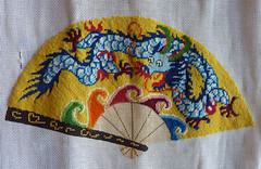 Making progress, still more to do! (Monceau) Tags: progress more work needlepoint dragon fan stitching project