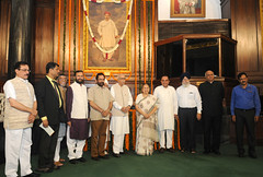 Parliamentarians tributes to Lokmanya Bal Gangadhar Tilak on his birth anniversary at Parliament House in New Delhi on July 23. (legend_news) Tags: parliamentarians tributes lokmanya bal gangadhar tilak his birth anniversary parliament house new delhi july 23