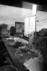 Reflections, Machias, Maine (James Meeks) Tags: bw signs abandoned reflections decay 28mm maine tools cups gr styrofoam ricoh machias grii