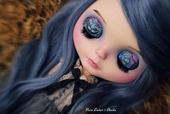 Cheshire smile (pure_embers) Tags: uk blue england alpaca girl lensbaby cat hair photography grey eyes doll closed dolls cheshire dream tan fantasy blythe custom freddy pure embers eyelids cheska freddytan pureembers emberscheska
