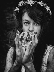 ~ lucid visions ~ (spiegelwelten.com) Tags: eyes black white emotion glass sphere beautiful woman flowers hair intense