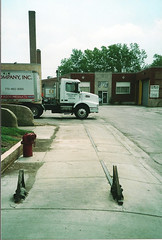 Tom Burke Photo Chicago Newport Avenue East of Kimball July 6 2003 #6 (middlewest1) Tags: wheelstops sidewalk spur railroad cnw chicago