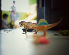 When dinosaurs ruled the Earth (or at least this house) (Mister Blur) Tags: home boys 35mm toys nikon bokeh earth depthoffield when 18 dinosaurs trex ruled forlife spinosaurus d7100