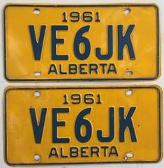 ALBERTA 1961 ---AMATEUR RADIO PLATE PAIR #VE6JK (woody1778a) Tags: alberta albertahistory hamoperator npcc196 alpca1778 registrationplate numberplate licenseplate amateurradio canada