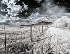 Sangre de Cristo Mountains ([ raymond ]) Tags: road trees sky panorama newmexico southwest field grass clouds fence pano wideangle panoramic infrared taos sangredecristomountains americansouthwest img4792pano