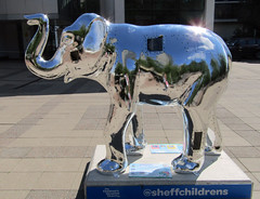 #23 Steel Elephant by Tom Clayton, Herd of Sheffield 2016 (Dave_Johnson) Tags: steelelephant tomclayton steel stainlesssteel sheffieldsteel sheffieldhallamuniversity hallamuniversity hallam hallamsquare herdofsheffield herd elephant elephants art streetart sculpture sheffchildrens sheffieldchildrenshospitalcharity sheffieldchildrenshospital childrenshospitalcharity childrenshospital sheffield southyorkshire