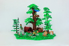 Forestmen Camp (jsnyder002) Tags: lego moc yeoldmerrybattleground brickfair tree forest forestmen robinhood design technique landscape boulder camp tent target supplies fire pit