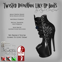 Twisted Divination Laced Boots - Black by Page Creations   (Raven Page) Tags: slink high belleza maitreya materialsenabled twisted thf16