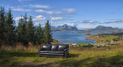 a lofty Lofoten hangout (lunaryuna (back and playing Sisyphus in catching u) Tags: norway lofoten lofotenislands lofotenarchipelago route815 landscape panoramicviews decay abandonedsofa couchwithaview funny lunaryuna