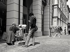 A man admires a painter creating his artwork. (andrea.guidetti) Tags: bologna blackandwhite monochrome bw art artist streetart streetartist paint emiliaromagna streetlife streetphotography ironic fun funny