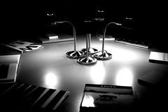 de leestafel (=Mirjam=) Tags: nikond750 pixlr bw lowkey 52weeksof2016 museum table magazines books lamps light dark rotterdam boijmansvanbeuningen fotodagje september 2016