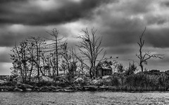 Abandoned (bnq.hendrix) Tags: island sea clouds monocrome blackandwhite nests cottage