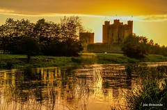 Trim Castle Sunset (Joe Ormonde (Sheosamh)) Tags: old trees ireland sunset sky sun reflection castle water grass ancient melgibson trim rushes braveheart boyne meath nikond7000