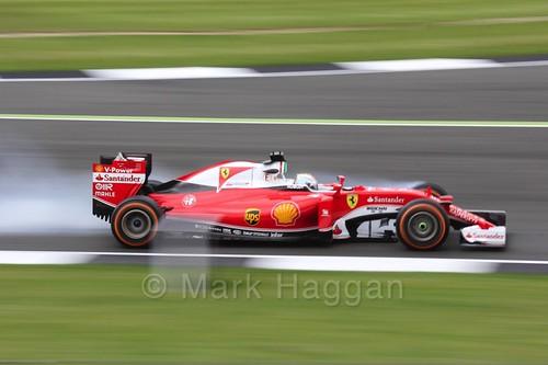 Sebastian Vettel locks up in Free Practice 1 at the 2016 British Grand Prix
