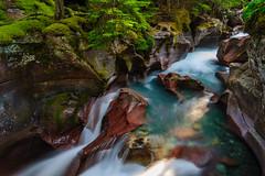 Avalanche Flume (jeanineleech) Tags: summer usa mountains green water waterfall moss montana rocks wideangle glacier turquiose glaciernationalpark flume glacial runoff avalancheflume