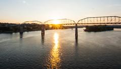 Sunrise on The Walnut Street Bridge (rpennington9) Tags: sunrise sunrises tennessee chattanooga nikon lensflares reflection reflections walnutstreetbridge tennesseeriver