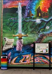 Excalibur Mural (Canis Major) Tags: mural glastonbury sword legend dustbin excalibur kingarthur isleofavalon