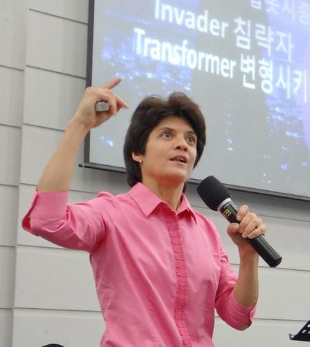 Leanna preaching Korea ppt behind-s