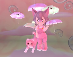 Hellcat and Me (suzumezuki) Tags: kittycat halfdeer dysfunctionality nam chibi cute anime kawaii secondlife sl overalls pink cat cloud tiny cyclops slphoto