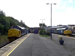 37401 waits time at Barrow with the 1140 to Carlisle, whilst 37403 has just arrived from Preston. 3/8/16 (Alister45) Tags: 37401 37403 barrow cumbrian drs northerntrains tractor ee
