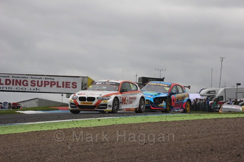 Jack Goff and Andrew Jordan in BTCC race 2 during the Knockhill Weekend 2016